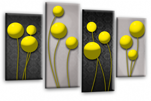 Abstract Floral Canvas Wall Art Picture Grey Yellow Flower Print